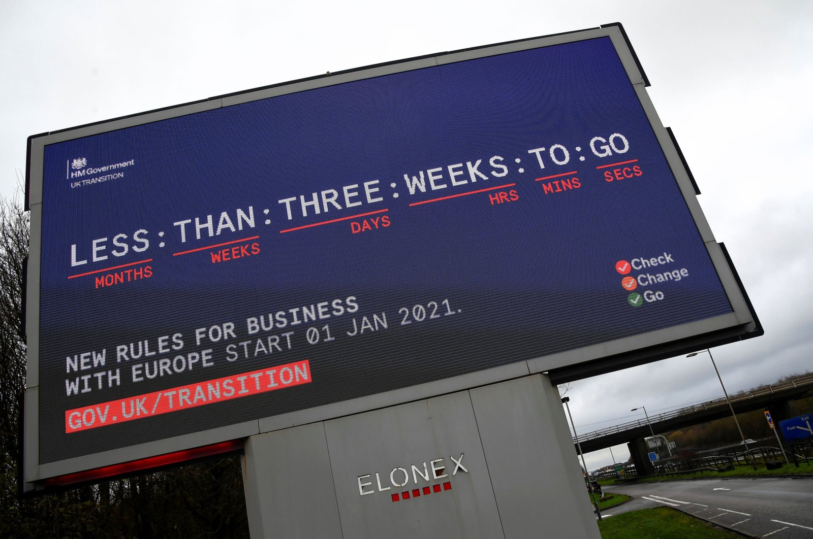 A government Brexit campaign advertisement is displayed along the M25 motorway near Westerham, in Kent, southern Britain, Dec. 12, 2020. (Reuters Photo)