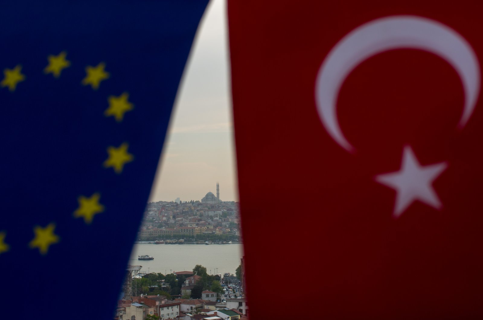 The flags of Turkey and the European Union seen together in Istanbul, Turkey, May 5, 2017. (Photo by Getty Images)