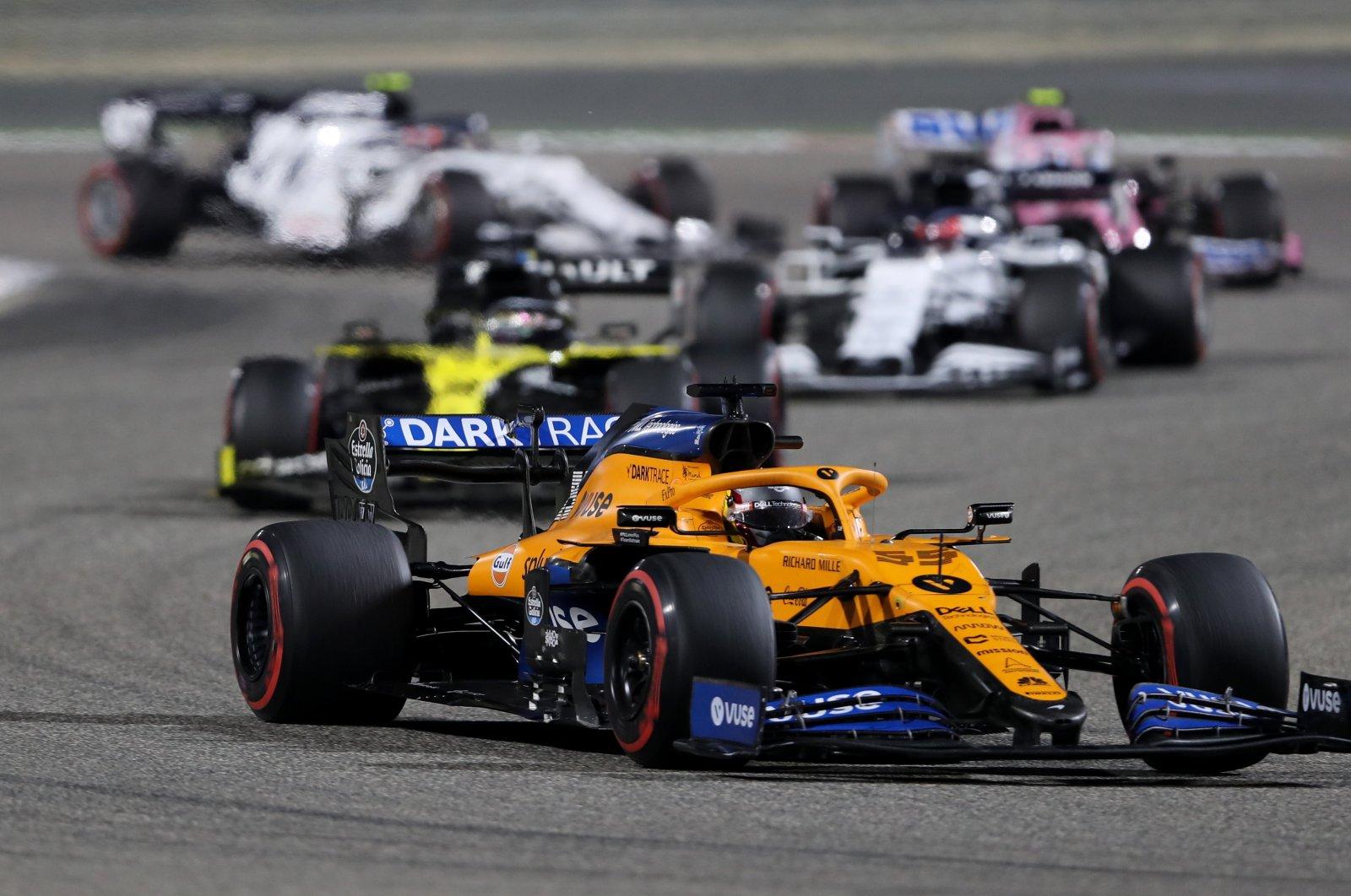McLaren's Carlos Sainz Jr. in action during the race, Bahrain International Circuit, Sakhir, Bahrain, Dec. 6, 2020. (Reuters Photo)