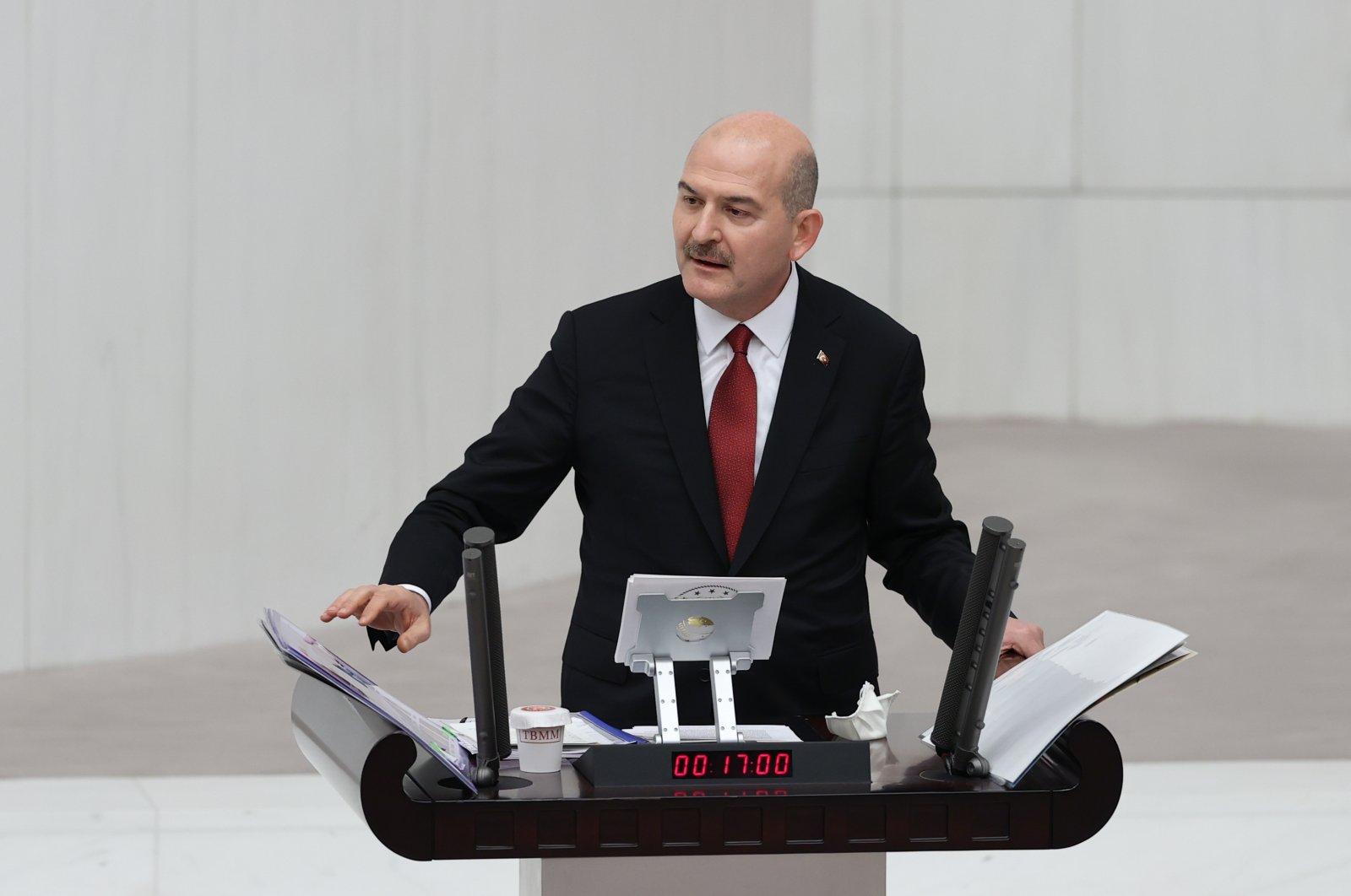 Interior Minister Süleyman Soylu gives a speech at the Turkish Parliament on Dec. 12, 2020 (AA Photo)
