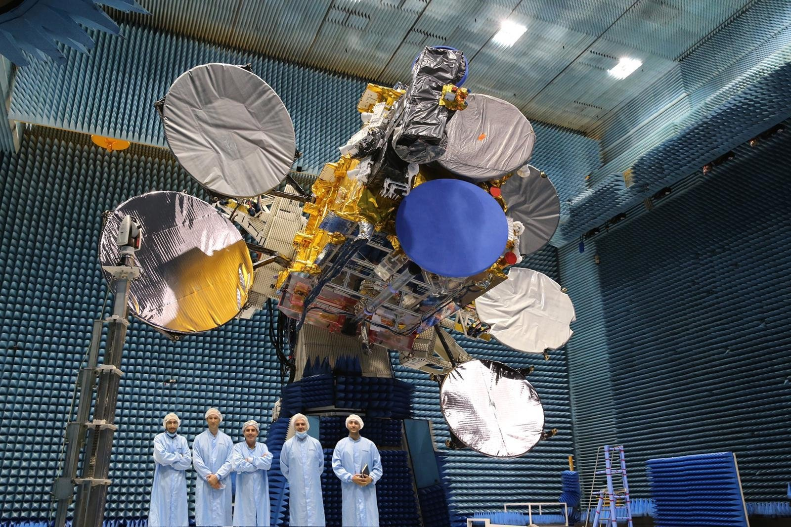 The new-generation communication satellite Türksat 5A at a facility in the capital Ankara, Turkey, Oct. 2, 2020. (AA Photo)