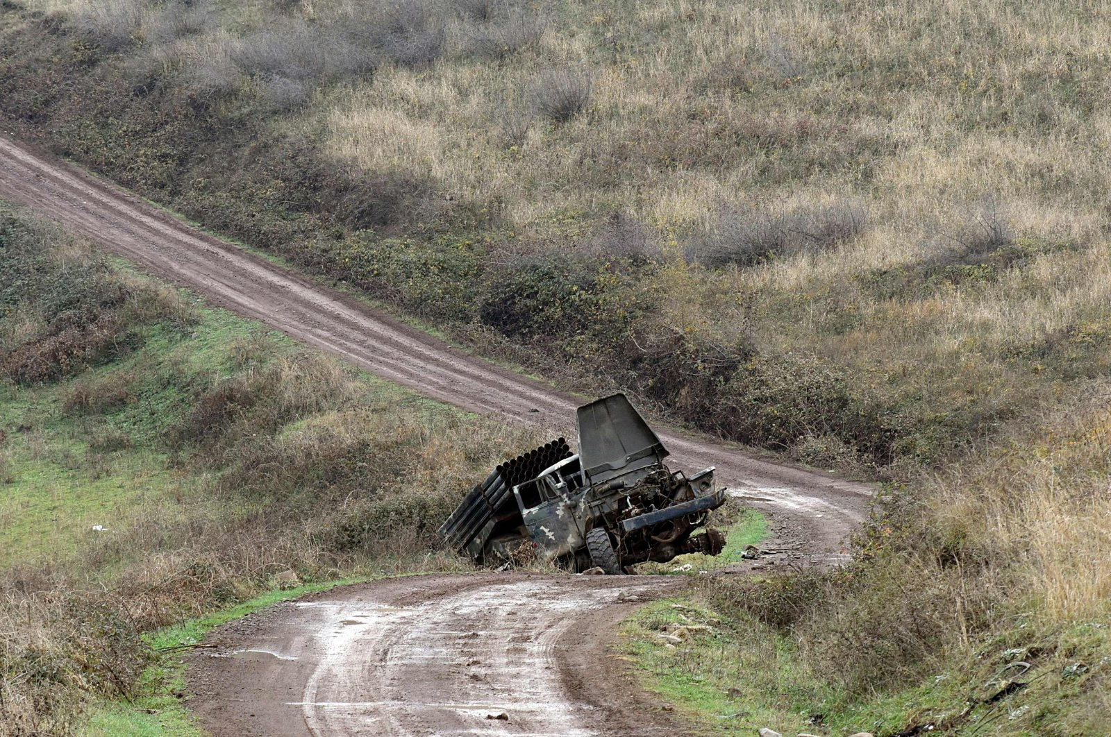 Areas destroyed by Armenian military hardware in the countryside outside the towns of Hadrut and Khojavend, Nov. 30, 2020. (AFP Photo)