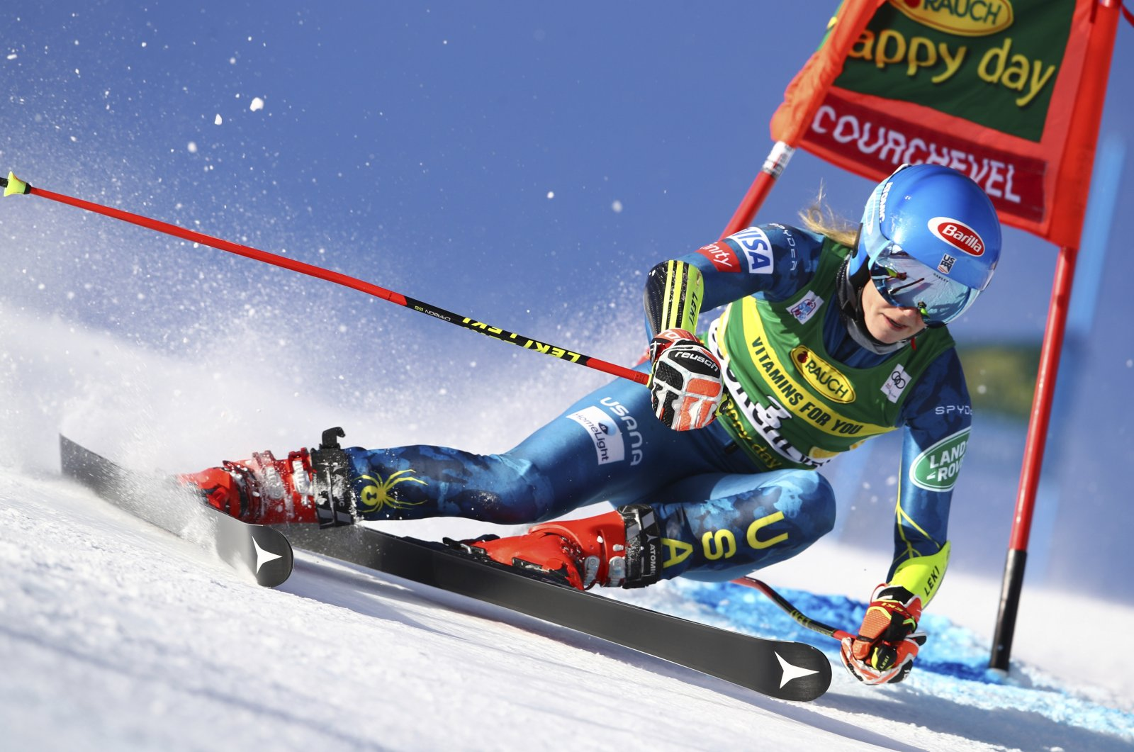 Mikaela Shiffrin speeds down the course during an alpine ski women's World Cup giant slalom in Courchevel, France, Dec. 14, 2020. (AP Photo)