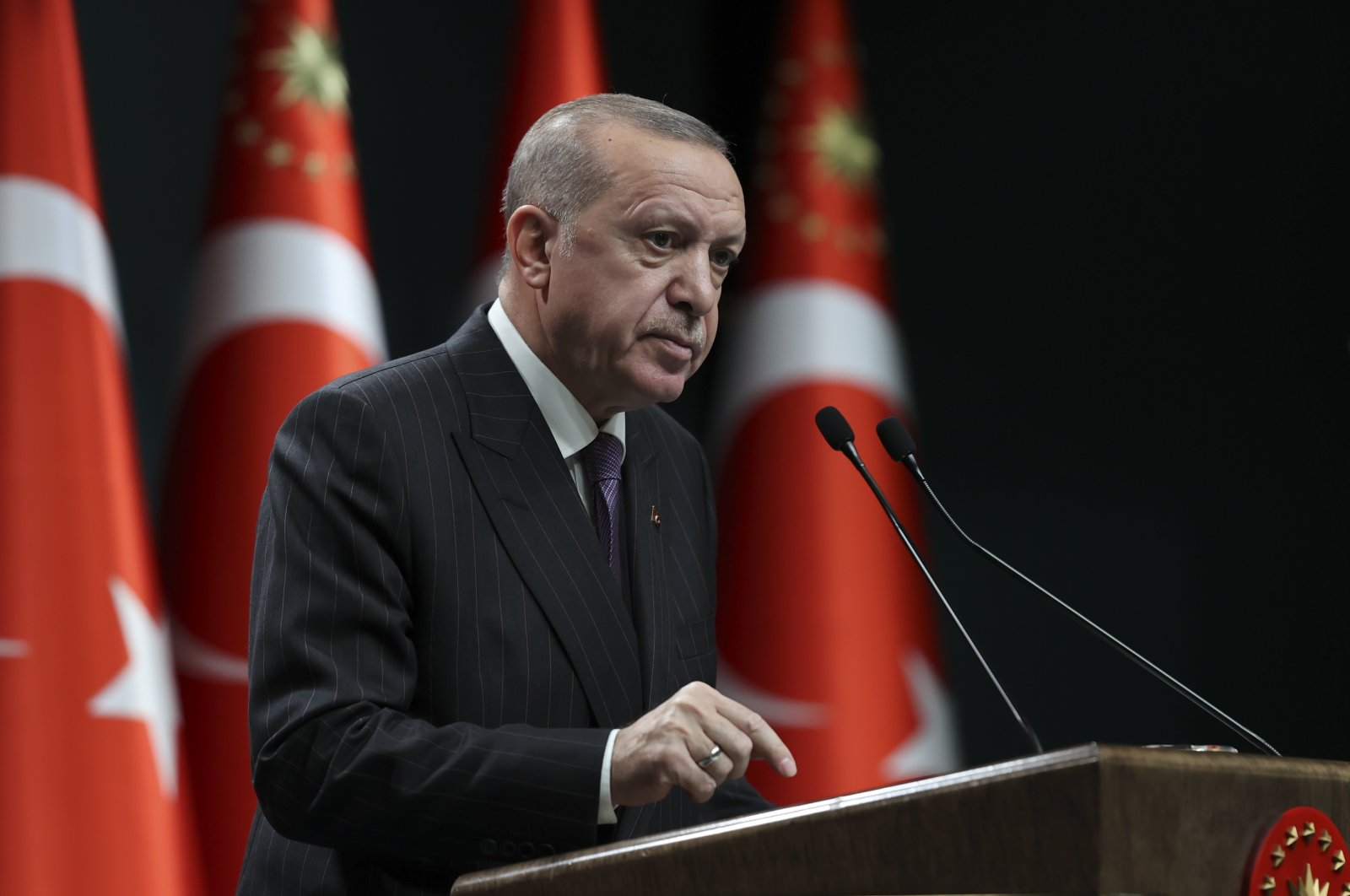 President Recep Tayyip Erdoğan speaks during a press conference at the Presidential Complex following a Cabinet meeting in the capital Ankara, Turkey, Dec. 14, 2020. (AA Photo)