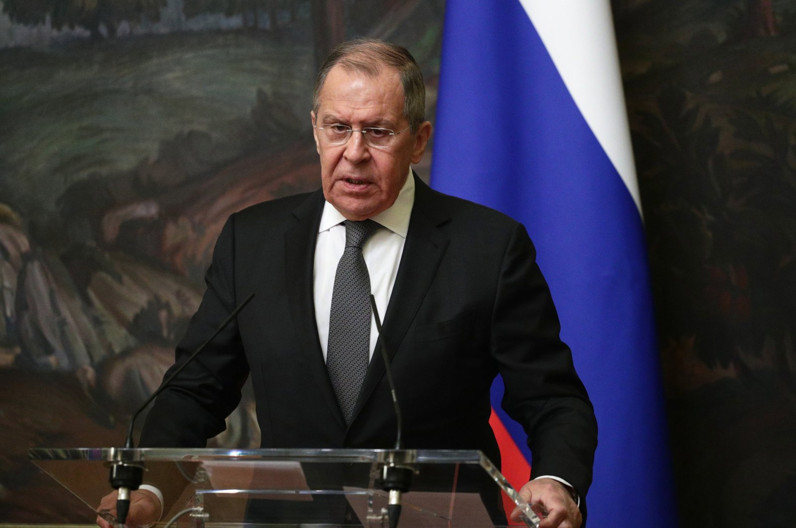 This Russian Foreign Affairs Ministry handout photo shows Foreign Minister Sergei Lavrov during a news conferencein Moscow, Russia, Dec. 14, 2020. (EPA Photo)