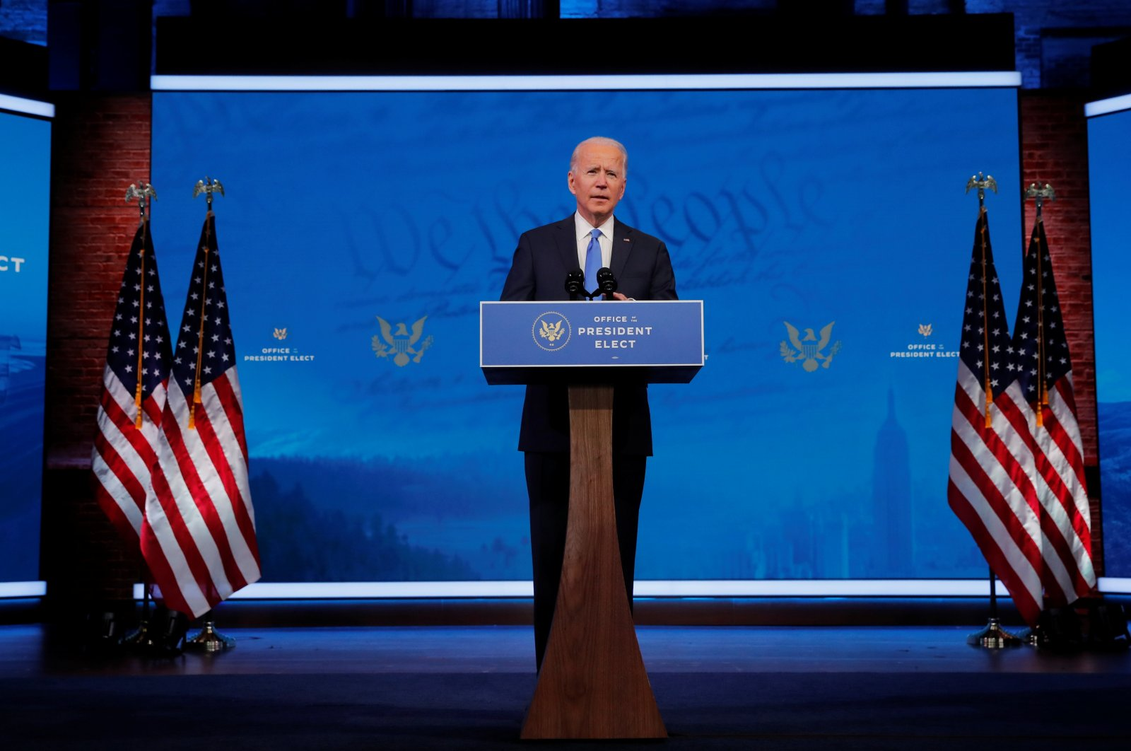 U.S. President-elect Joe Biden delivers a speech after the U.S. Electoral College formally confirmed his victory in the presidential election, in Wilmington, Delaware, U.S., Dec. 14, 2020. (Reuters Photo)