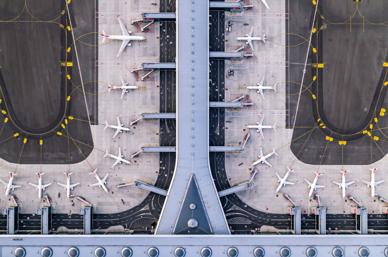 Drone footage provided on Dec. 15, 2020  shows planes parked at Istanbul Airport, Istanbul, Turkey. (Courtesy of IGA)