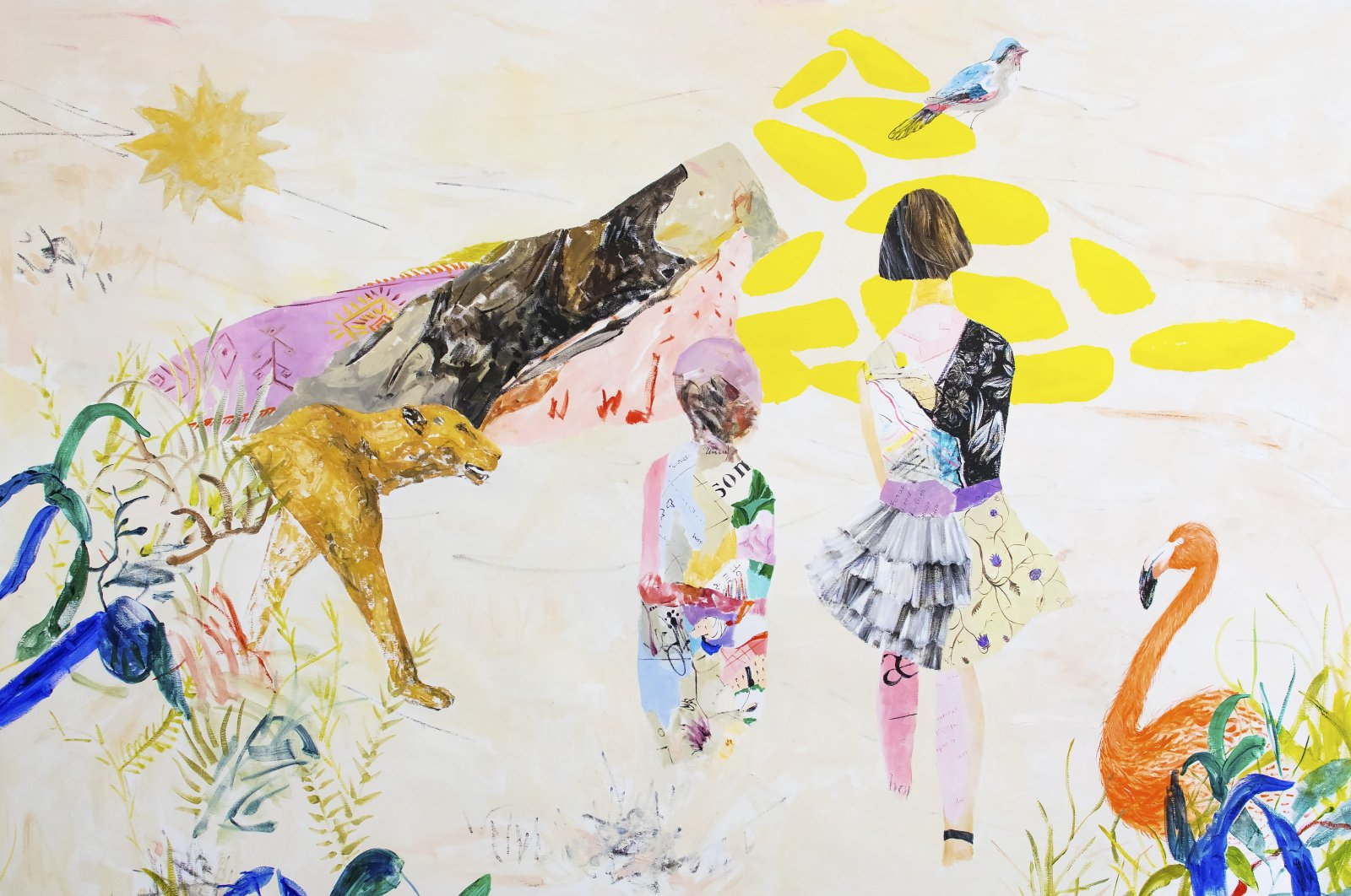 "Ekin Su Koç, ""Corrected Storytelling"", oil on canvas, 200 by 150 centimeters, 2020. (Courtesy of Anna Laudel)"