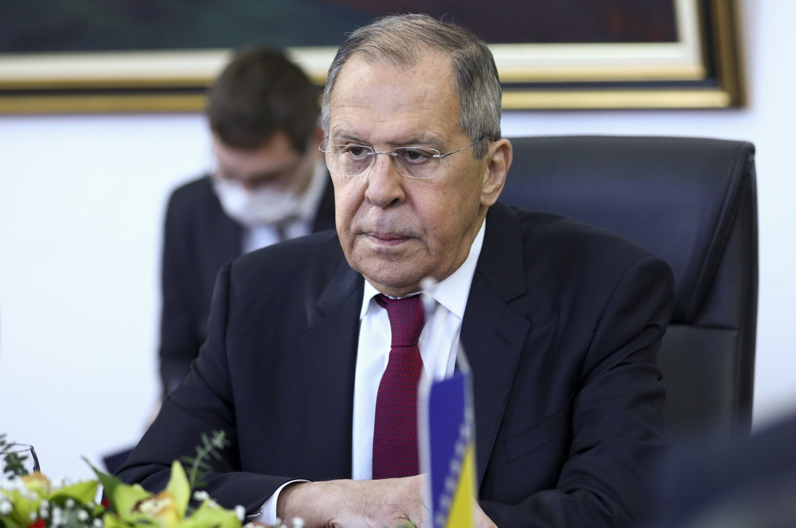 Russian Foreign Minister Sergey Lavrov attends a meeting with Bosnia's Foreign Minister Bisera Turkovic in the capital Sarajevo, Bosnia, Tuesday, Dec. 15, 2020. (AP Photo)