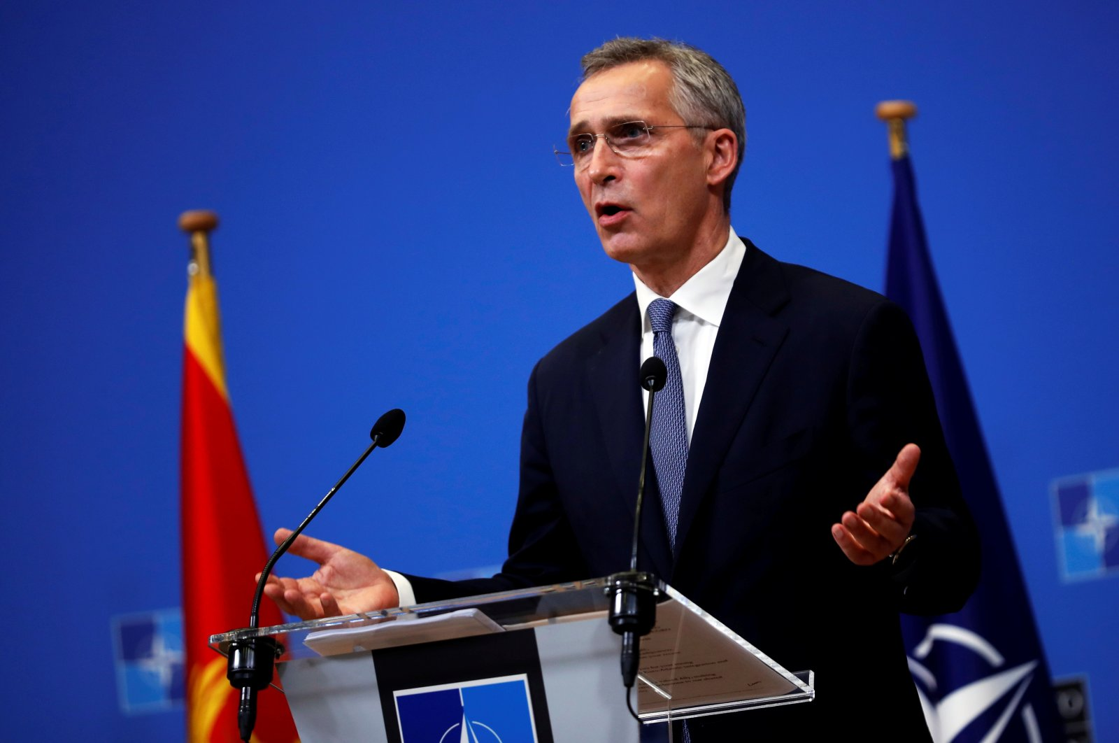 NATO Secretary General Jens Stoltenberg talks during a joint news conference with Montenegro Prime Minister Zdravko Krivokapic at the NATO headquarters in Brussels, Belgium, Dec. 15, 2020. (Reuters Photo)