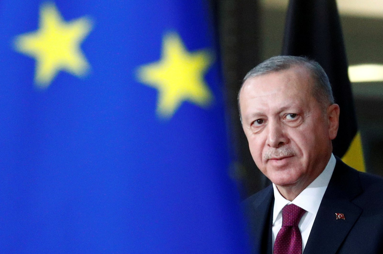 President Recep Tayyip Erdoğan arrives for a meeting with European Council President Charles Michel in Brussels, Belgium, March 9, 2020. (Reuters Photo)