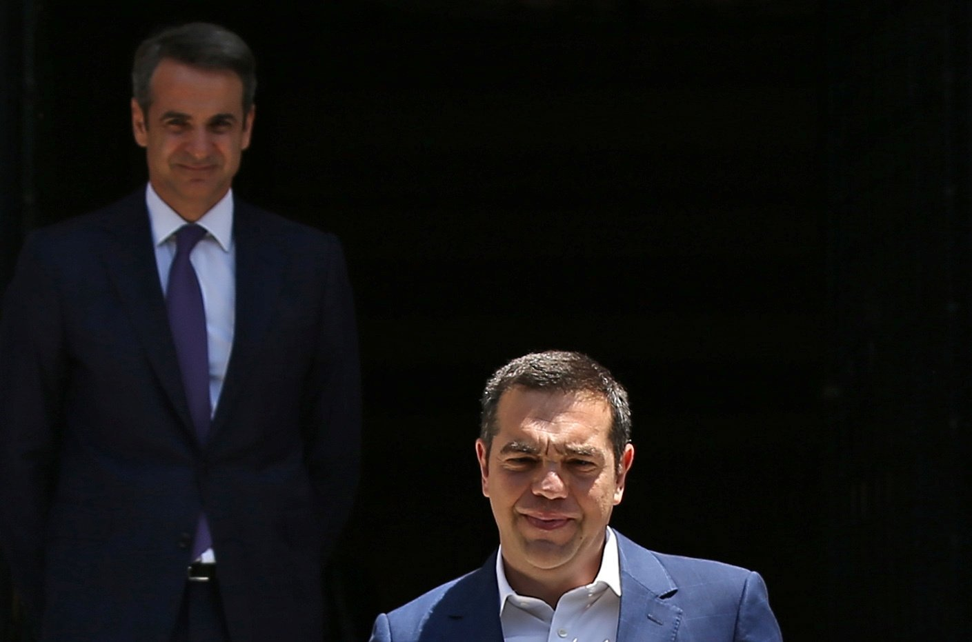 Outgoing Prime Minister Alexis Tsipras leaves the Maximos Mansion after a meeting with newly-appointed Greek Prime Minister Kyriakos Mitsotakis, in Athens, Greece, July 8, 2019. (Reuters Photo)