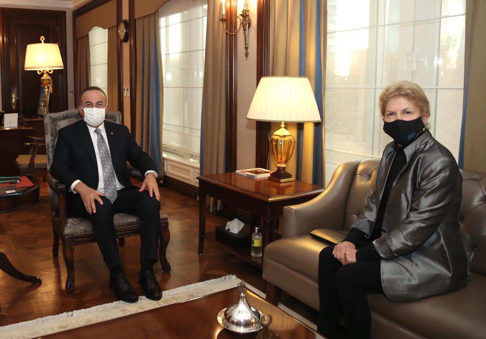 Foreign Minister Mevlüt Çavuşoğlu met with the United Nations special envoy to Cyprus, Jane Holl Lute, in Ankara, Dec. 16, 2020 (Courtesy of the Foreign Ministry)