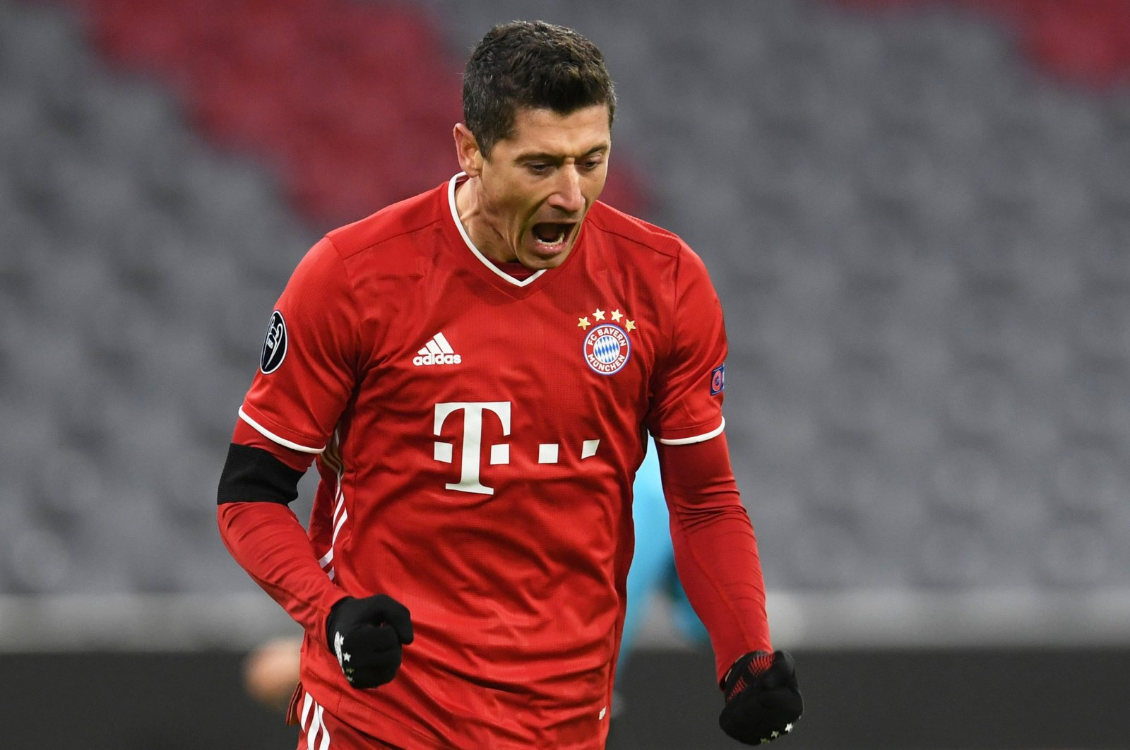 Bayern Munich's Robert Lewandowski celebrates a goal against FC Salzburg during a Champions League match at the Allianz Arena stadium in Munich, Germany, Nov. 25, 2020. (Reuters Photo)