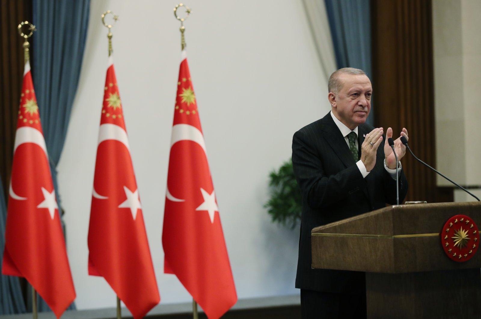 President Recep Tayyip Erdoğan speaks during the inauguration ceremony of Niğde-Ankara highway, conducted via a videoconference, Dec.16, 2020. (AA)
