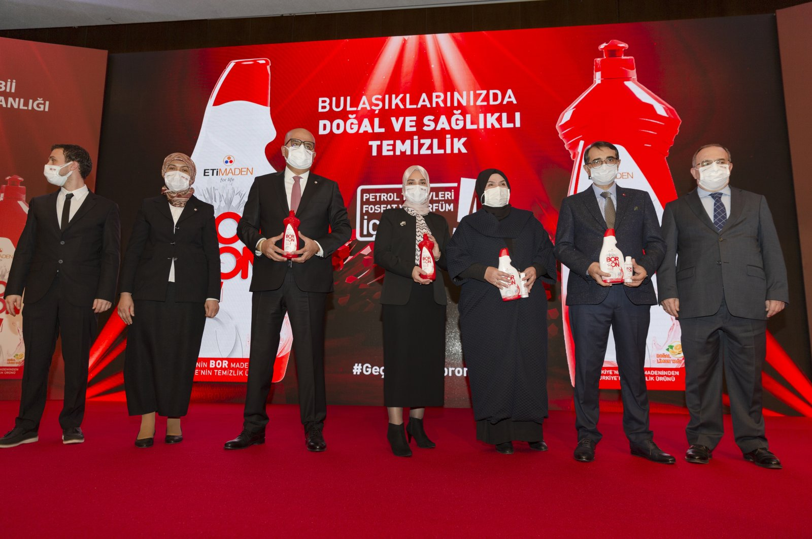 Energy and Natural Resources Minister Fatih Dönmez (2nd from R) attends the launching ceremony of a new Turkish-made dishwasher liquid detergent product, Ankara, Turkey, Dec. 16, 2020. (AA Photo)