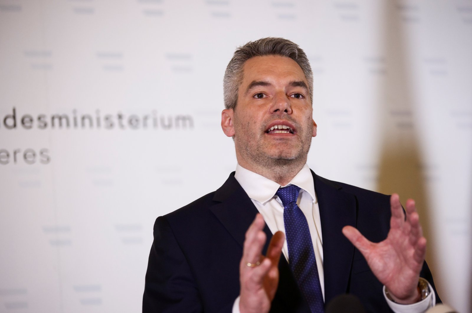 Austrian Interior Minister Karl Nehammer speaks during a news conference at the Interior Ministry in Vienna, Austria, Nov. 3, 2020. (Reuters Photo)