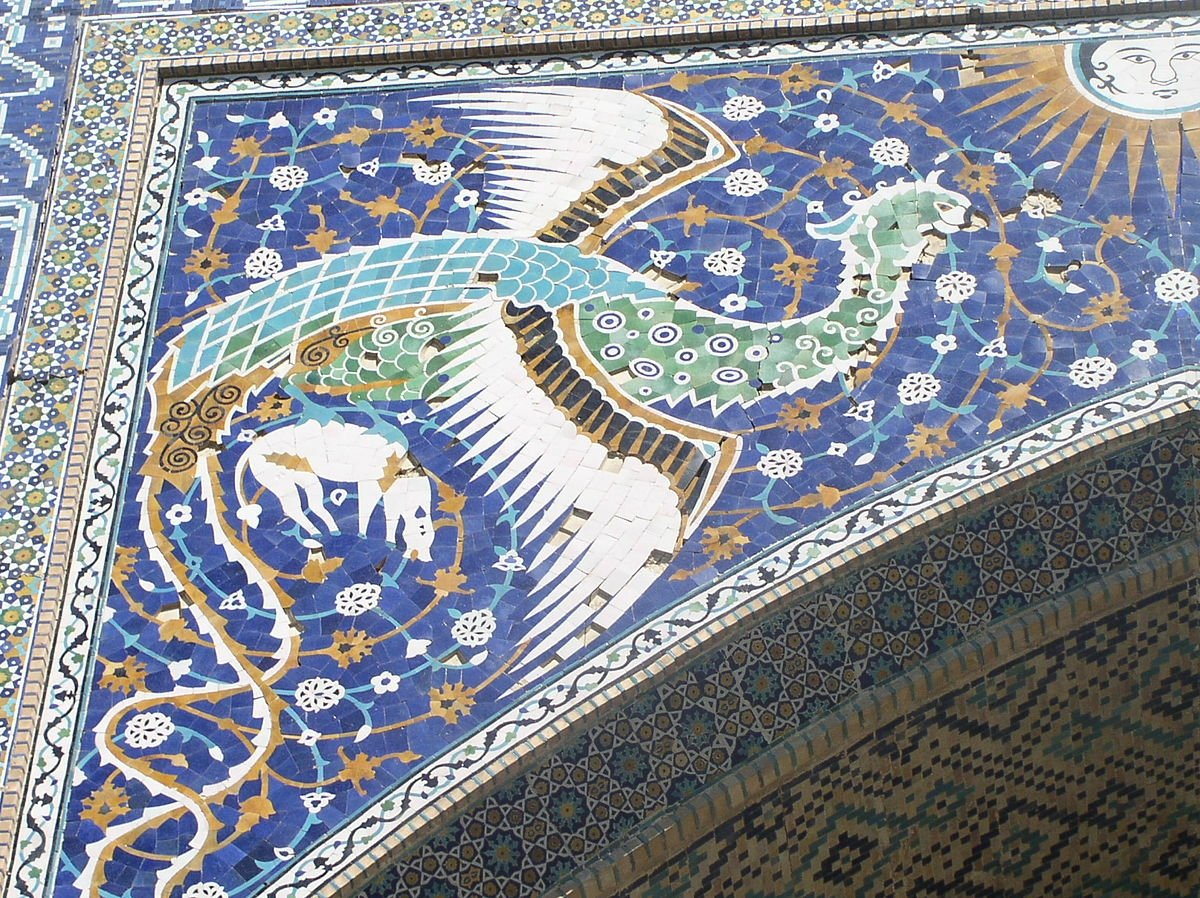 Simurgh mosaic on front of Nadir Divan Begi Madrasah in Bukhara, Uzbekistan.