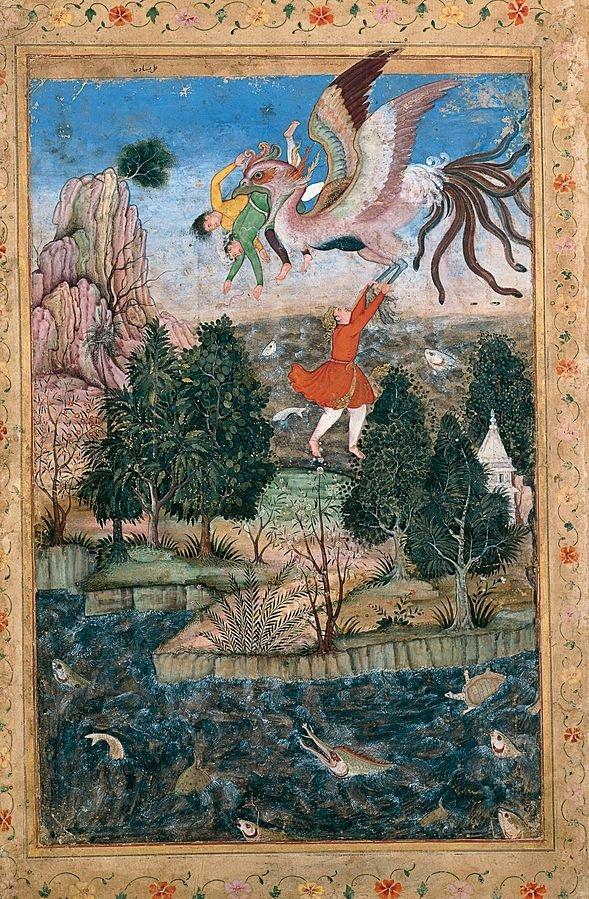 "Indian miniature painter Basawan's ""The Flight of the Simurgh"" miniature."