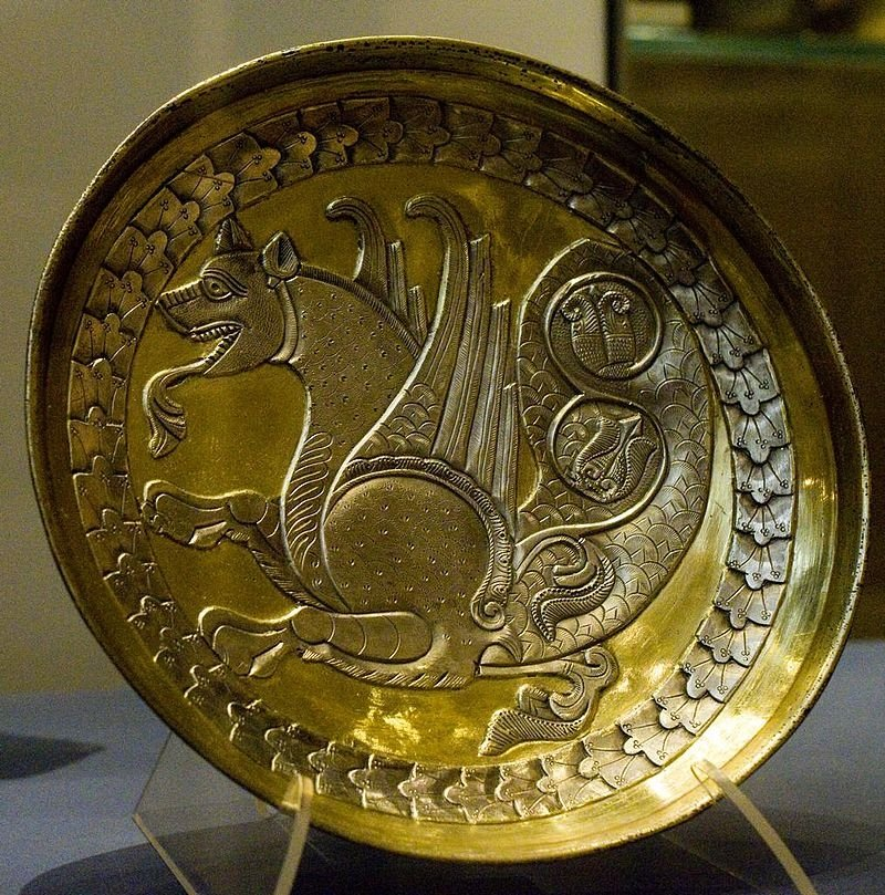 Sassanid silver plate with Simurgh figure from 7th or 8th-century C.E.