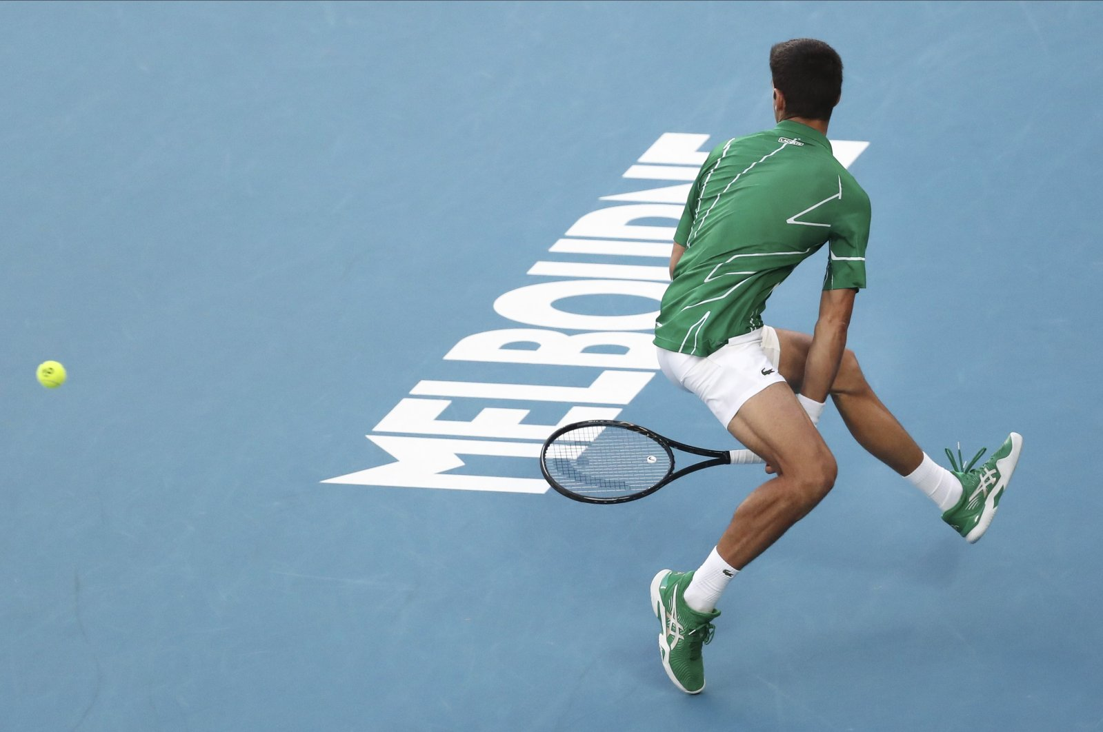 Novak Djokovic plays a ball back to Dominic Thiem during the men's singles final at the Australian Open tennis championship in Melbourne, Australia, Feb. 2, 2020. (AP Photo)