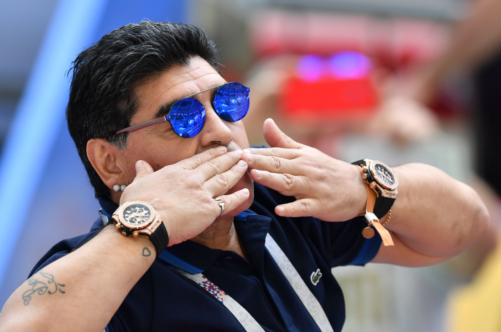 Diego Maradona gestures during a 2018 World Cup match between France and Argentina at the Kazan Arena stadium, in Kazan, Russia, June 30, 2018. (AFP Photo)