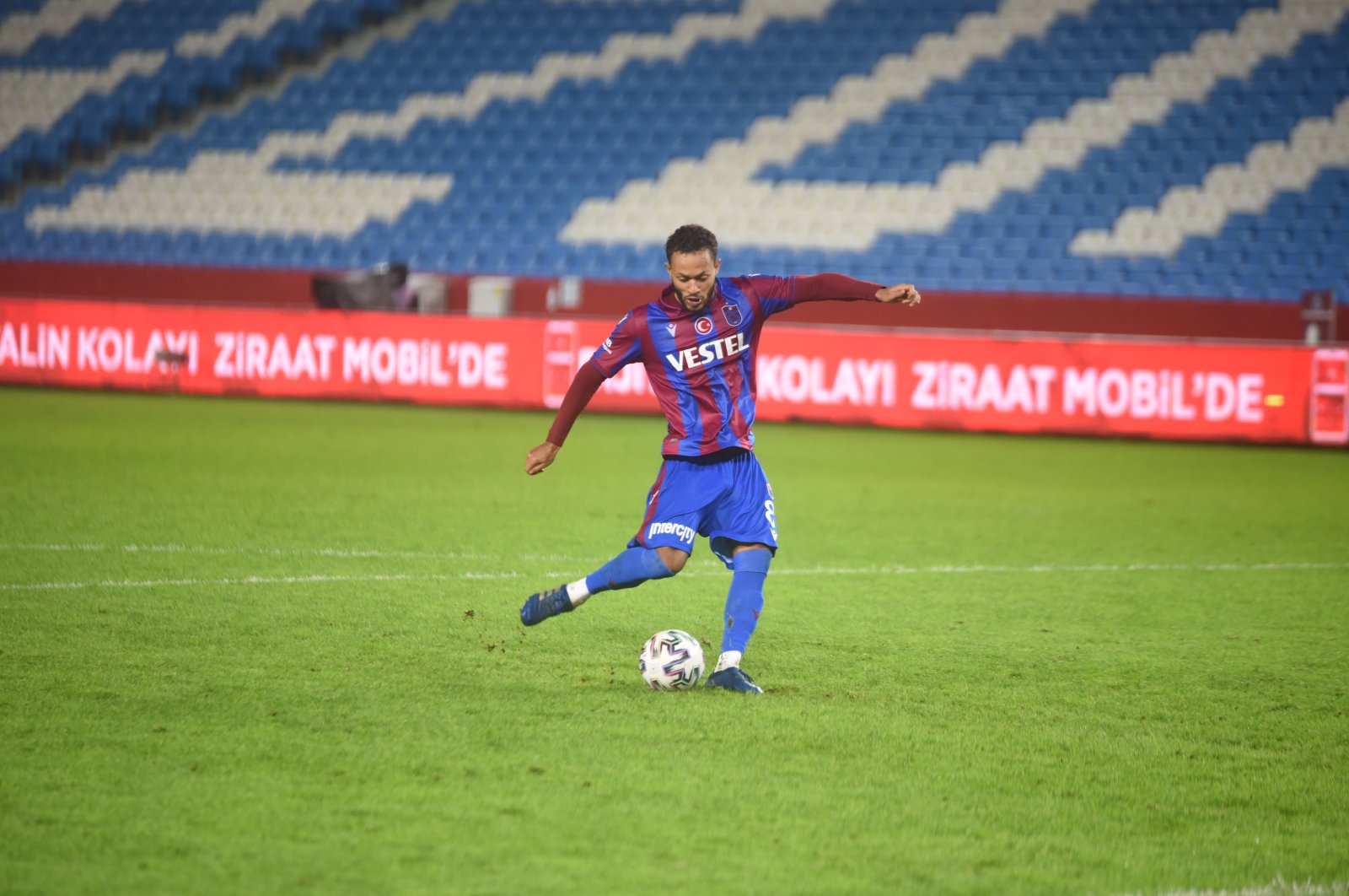 Trabzonspor's Lewis Baker takes a penalty during the Ziraat Turkish Cup match against Adana Demirspor, Trabzon, Turkey, Dec. 16, 2020. (IHA Photo)