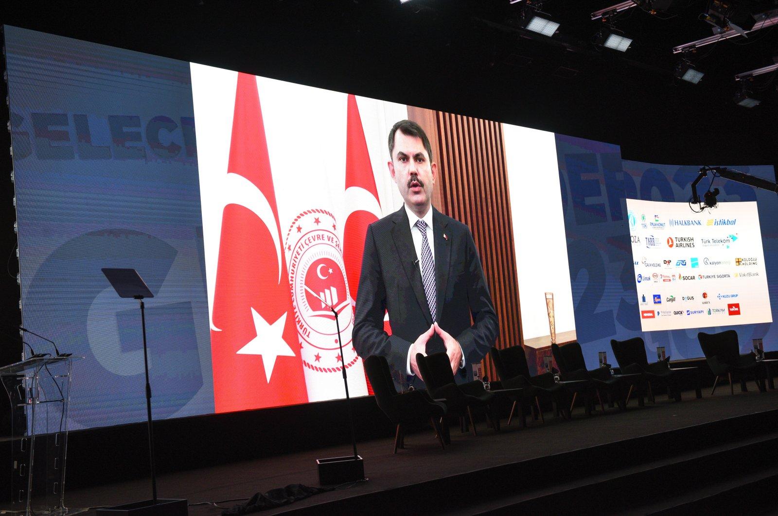 Environment and Urbanization Minister Murat Kurum speaks during the third Turkey 2023 Summit,organized by the Sabah newspaper of Turkuvaz Media Group, in Istanbul, Turkey, Oct. 22, 2020. (Photo by Murat Şengül)