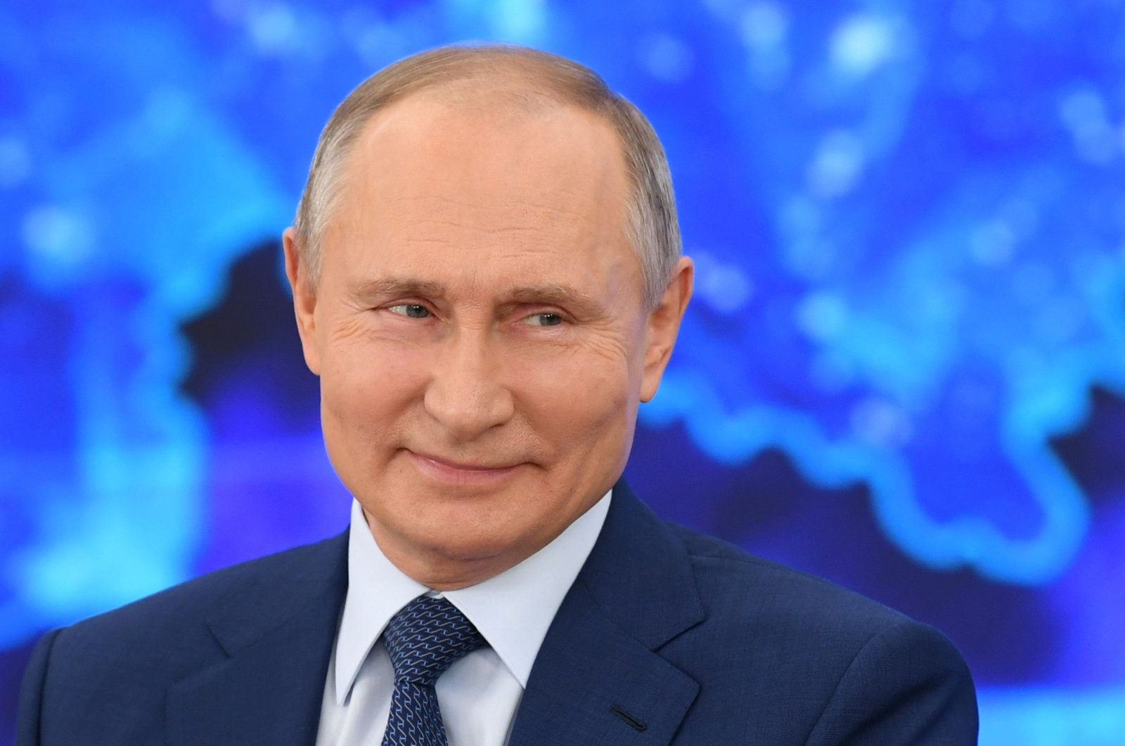 Russian President Vladimir Putin attends his annual end-of-year news conference, held online in a videoconference mode, at the Novo-Ogaryovo state residence outside Moscow, Russia, Dec. 17, 2020. (Reuters Photo)