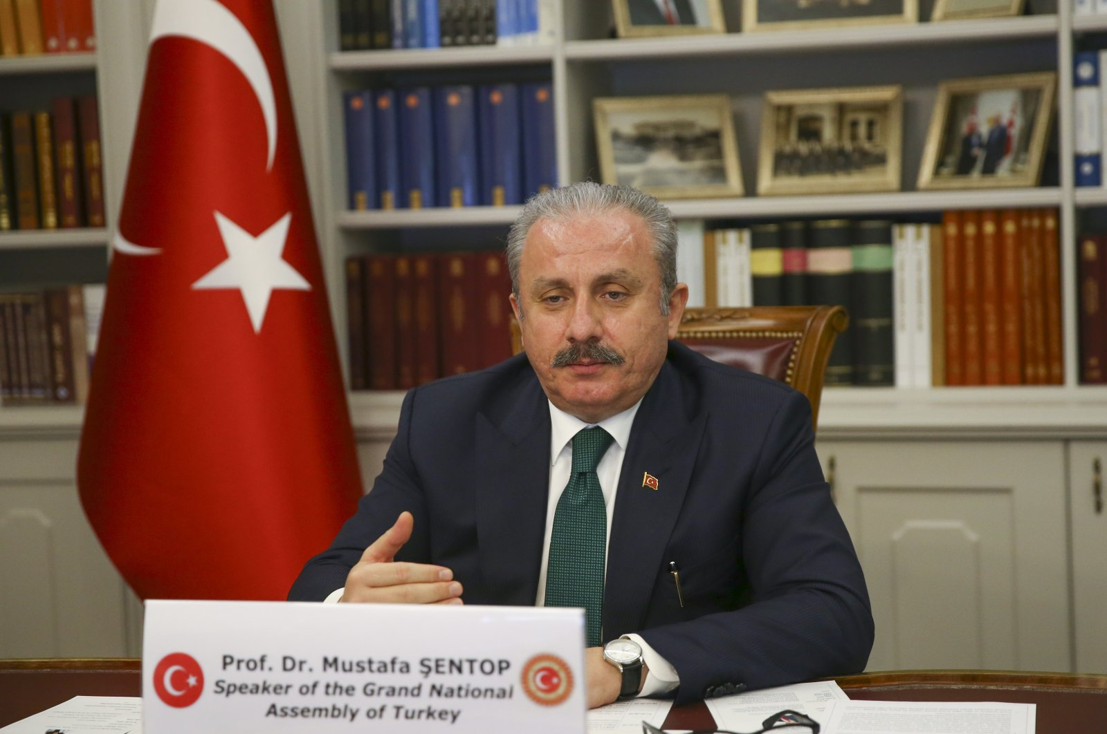 Parliament Head Mustafa Şentop speaks at a videoconference with MIKTA countries in Ankara, Dec. 17, 2020 (AA Photo)