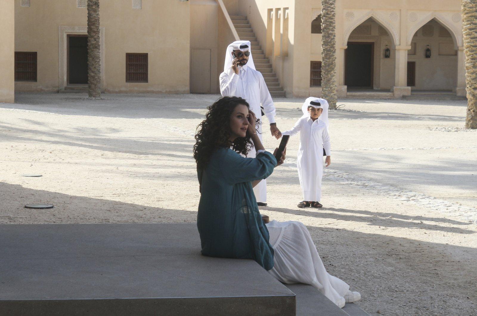Turkish actress İrem Helvacıoğlu acts in a new Turkish series in Qatar, Doha, Dec. 17, 2020. (AA Photo)