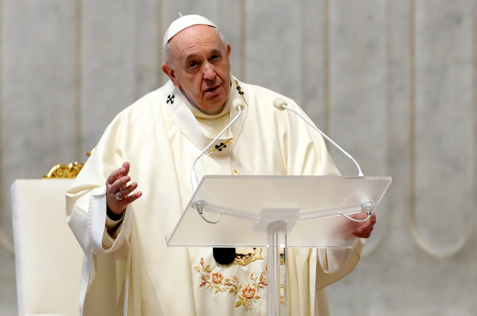 Pope Francis conducts a Mass on the feast day of Our Lady of Guadalupe in St. Peter's Basilica, at the Vatican, Dec. 12, 2020. (Reuters File Photo)