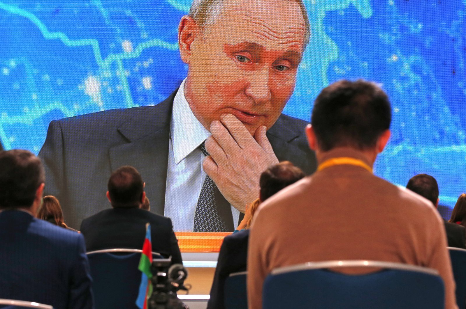 Russian President Vladimir Putin speaks via video call during a news conference in Moscow, Russia, Dec. 17, 2020. (AP Photo)