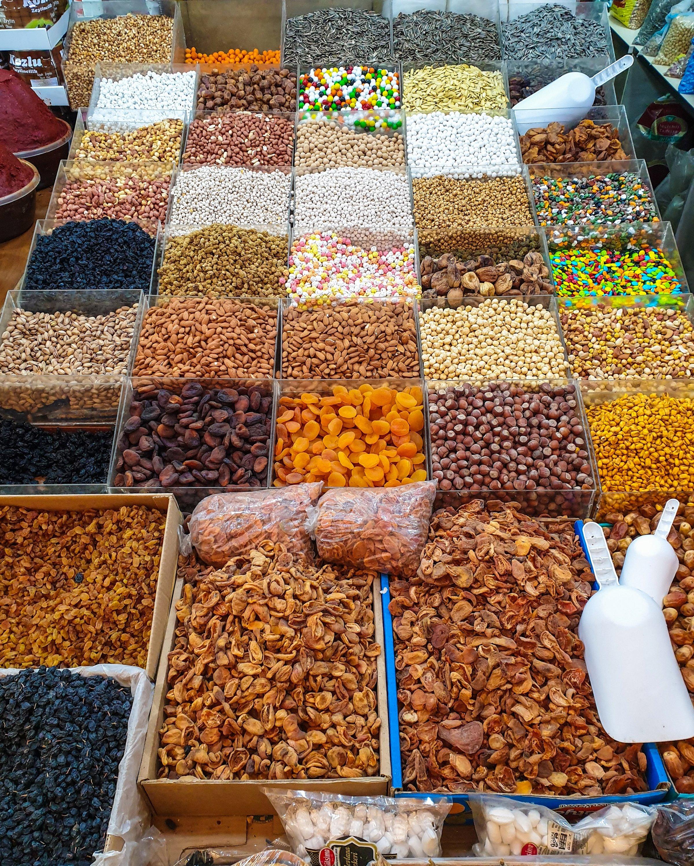 A stall of dried snacks at Kadınlar Pazarı. (Photo by Argun Konuk)