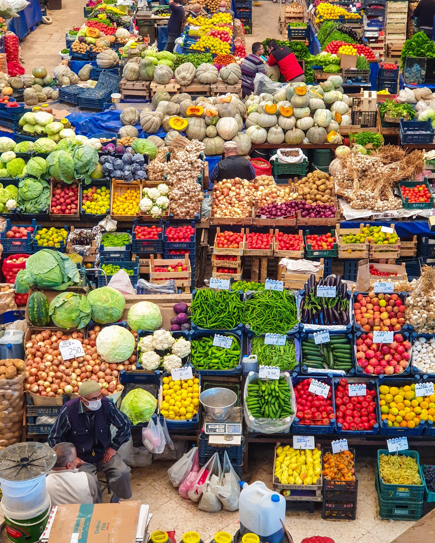 Fruit and vegetable stalls at Kadınlar Pazarı. (Photo by Argun Konuk)