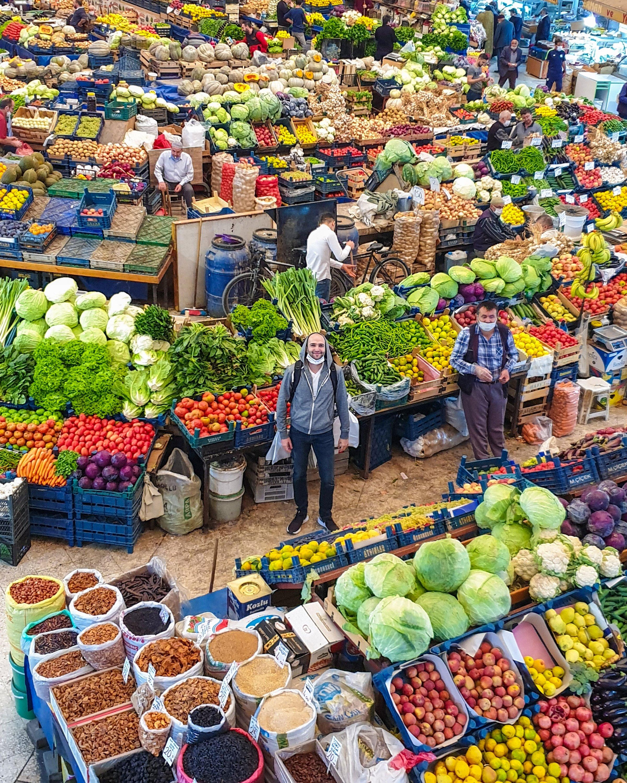 Argun Konuk poses for a photo at Kadınlar Pazarı. (Photo by Argun Konuk)
