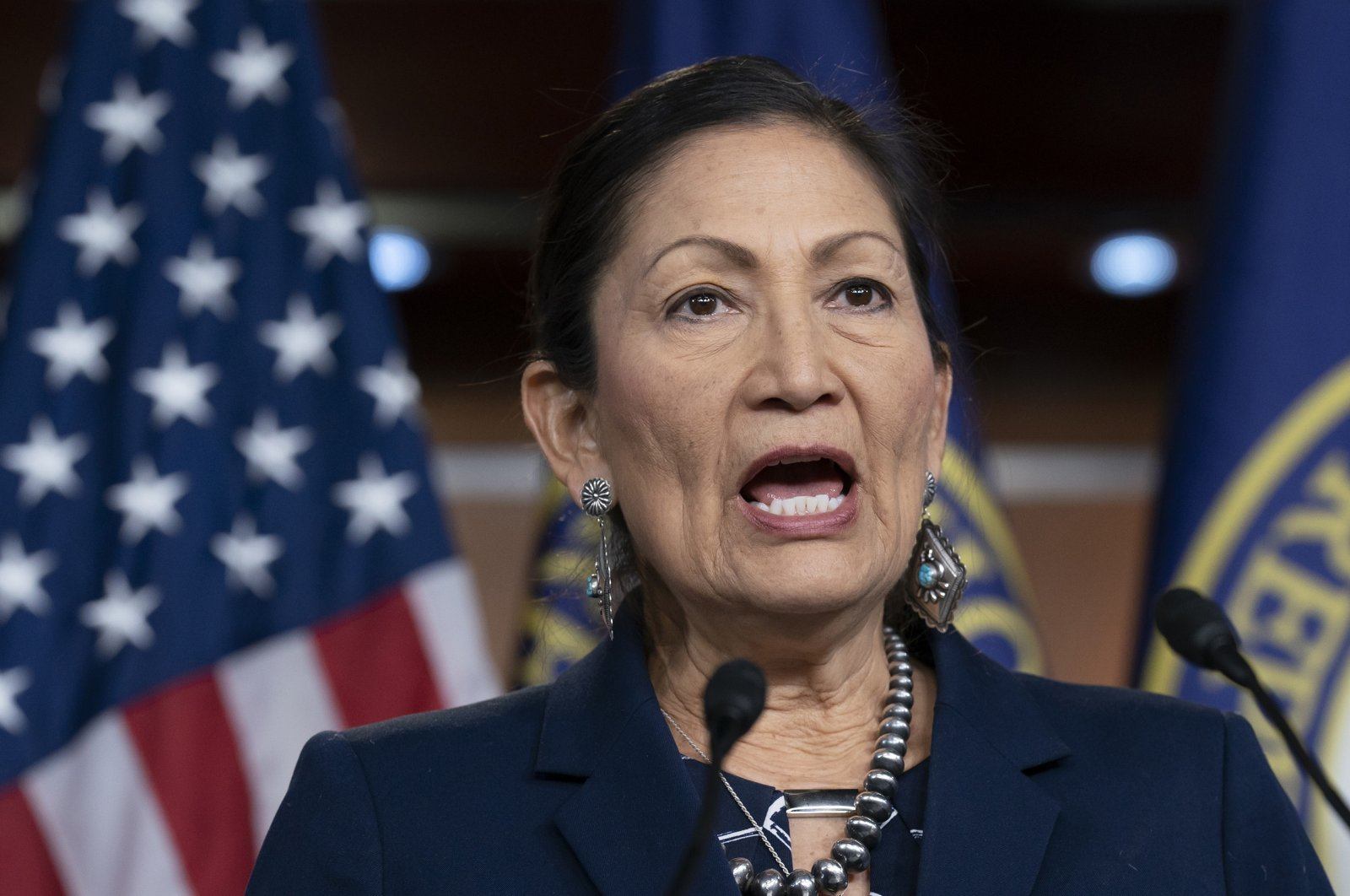 Rep. Deb Haaland, the Native American Caucus co-chair, speaks to reporters about the 2020 Census on Capitol Hill in Washington, D.C., U.S., March 5, 2020. (AP Photo)