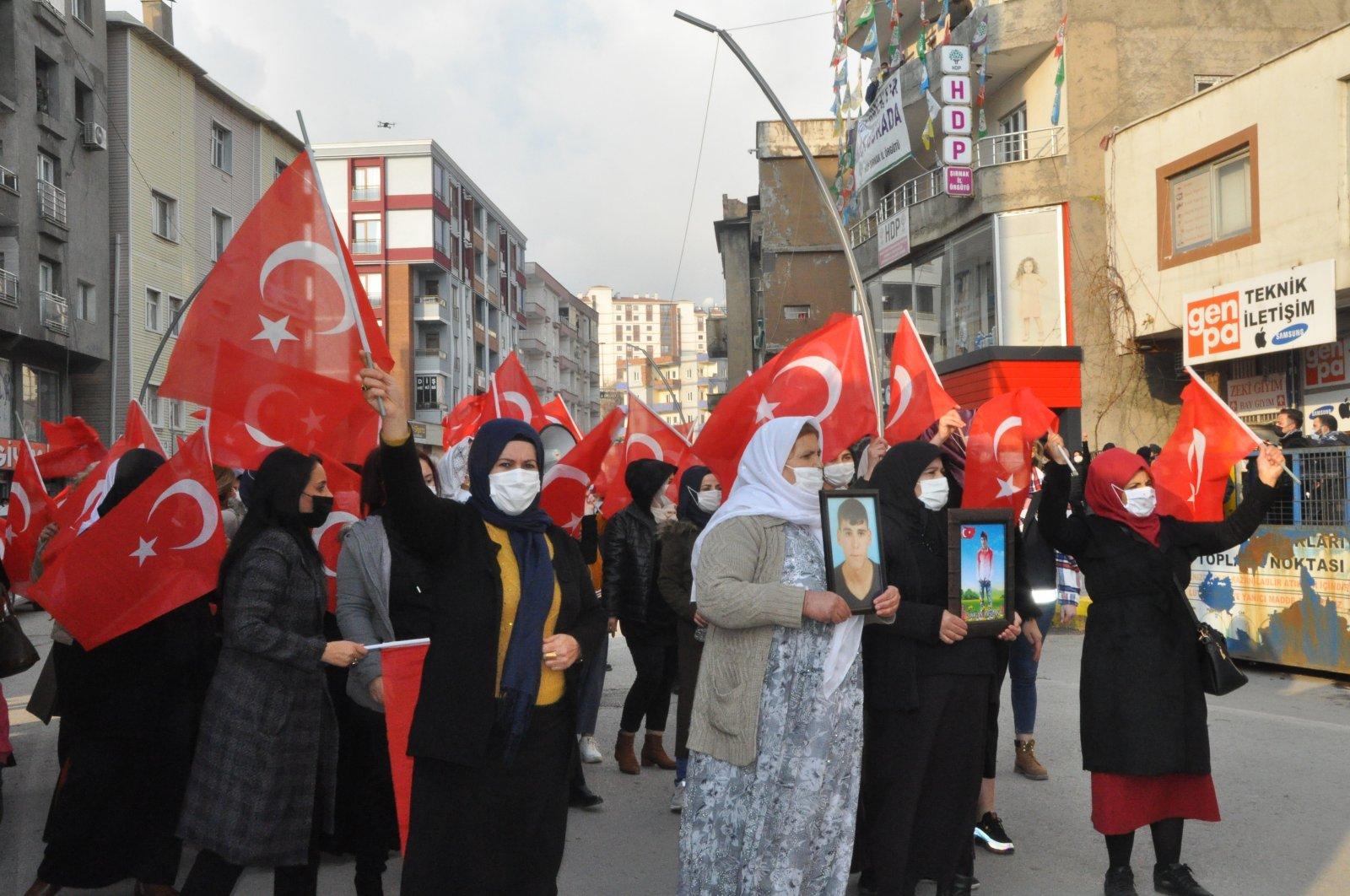 Families victimized by PKK terrorism march in Şırnak, southeastern Turkey, Dec. 17, 2020. (AA Photo)