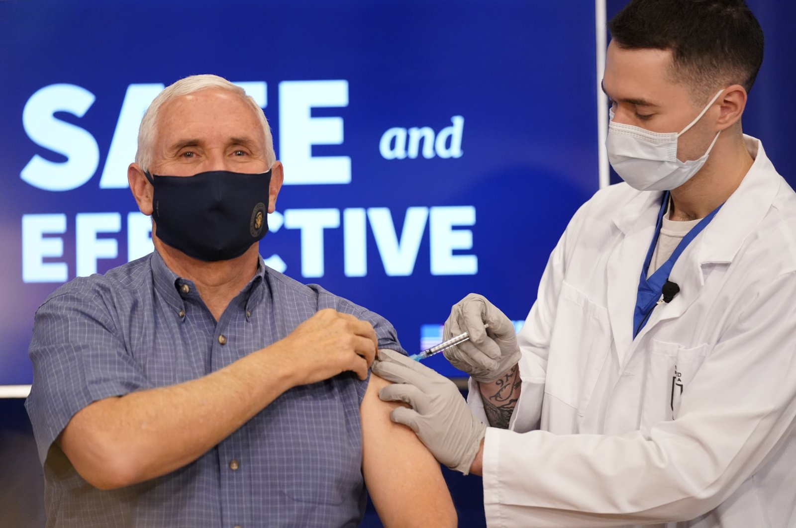 Vice President Mike Pence receives a Pfizer-BioNTech COVID-19 vaccine shot at the Eisenhower Executive Office Building on the White House complex in Washington D.C., Dec. 18, 2020. (AP Photo)