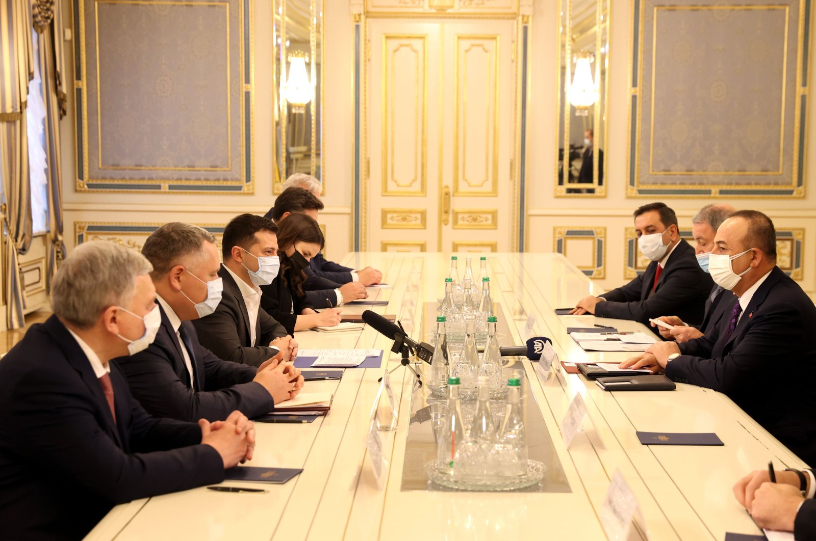 Ukraine's President Volodymyr Zelenskiy receives Turkey's Foreign Minister Mevlüt Çavuşoğlu and Defense Minister Hulusi Akar, Kyiv, Ukraine, Dec. 18, 2020. (AA Photo)