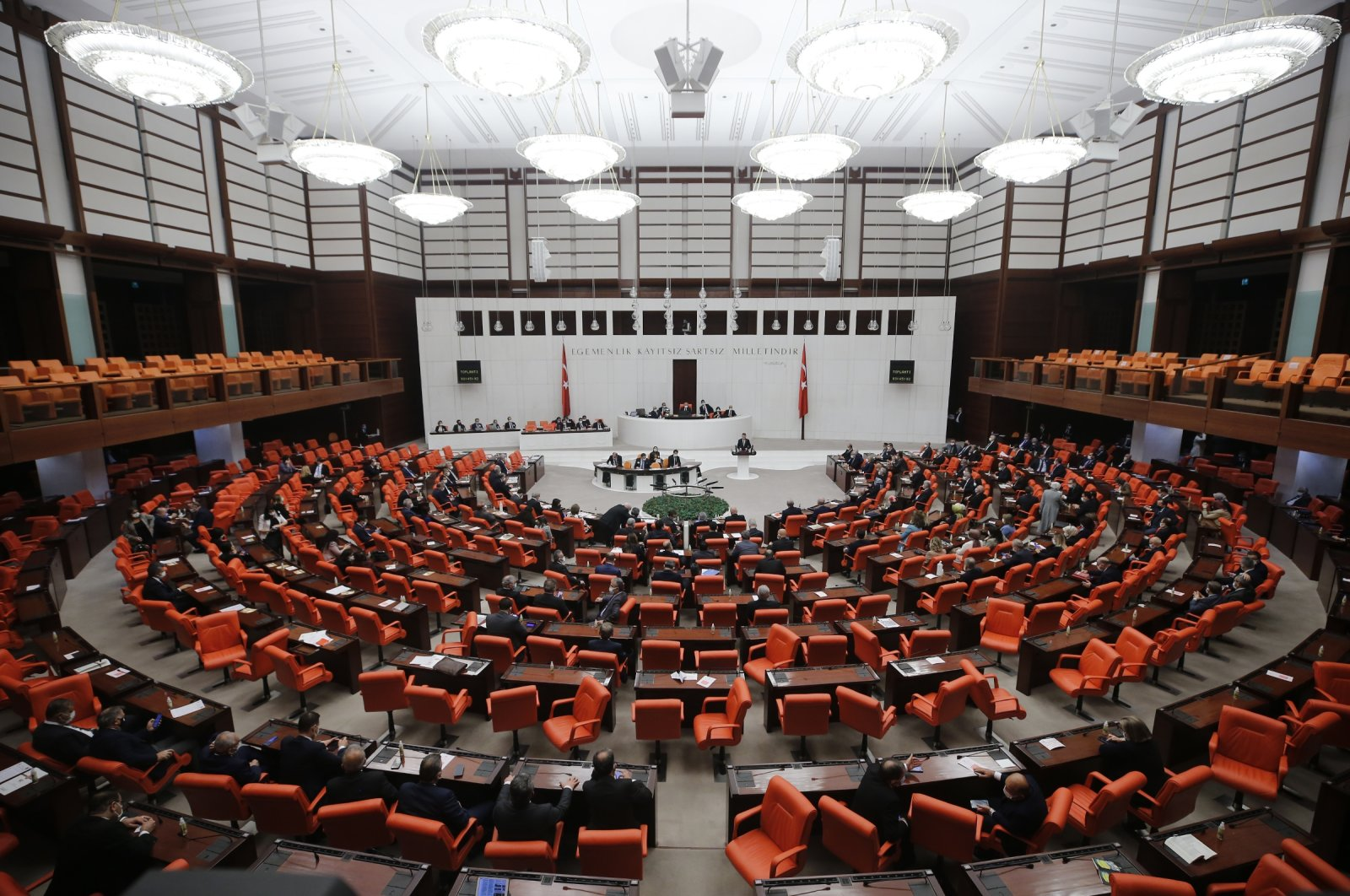 Discussions taking place regarding the 2021 Central Government Budget Law Proposalat the Turkish Parliament'sGeneral Assembly, Dec. 18, 2020. (AA Photo)