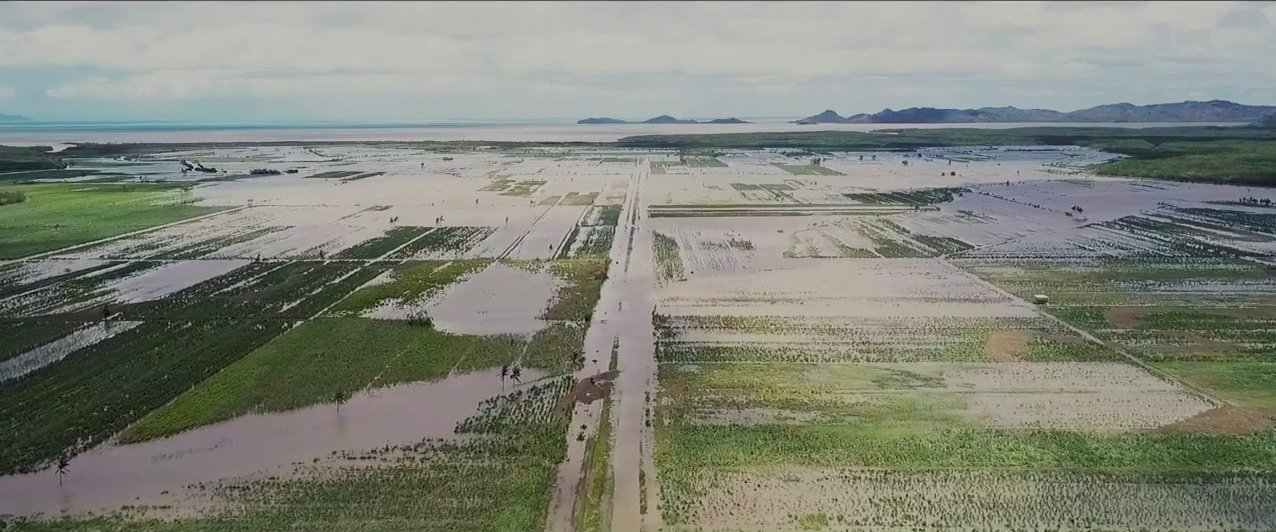 Still image from drone video obtained via social media of partially flooded land in the aftermath of Cyclone Yasa in Wailevu, Vanua Levu, Fiji, Dec. 18, 2020. (Swavikash Mudaliar via Reuters)