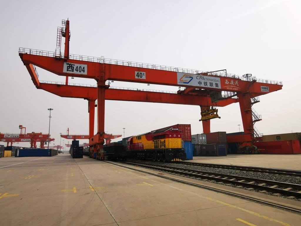 The Turkish export train is seen in the Chinese city of Xi'an, on Dec. 19, 2020. (IHA Photo)
