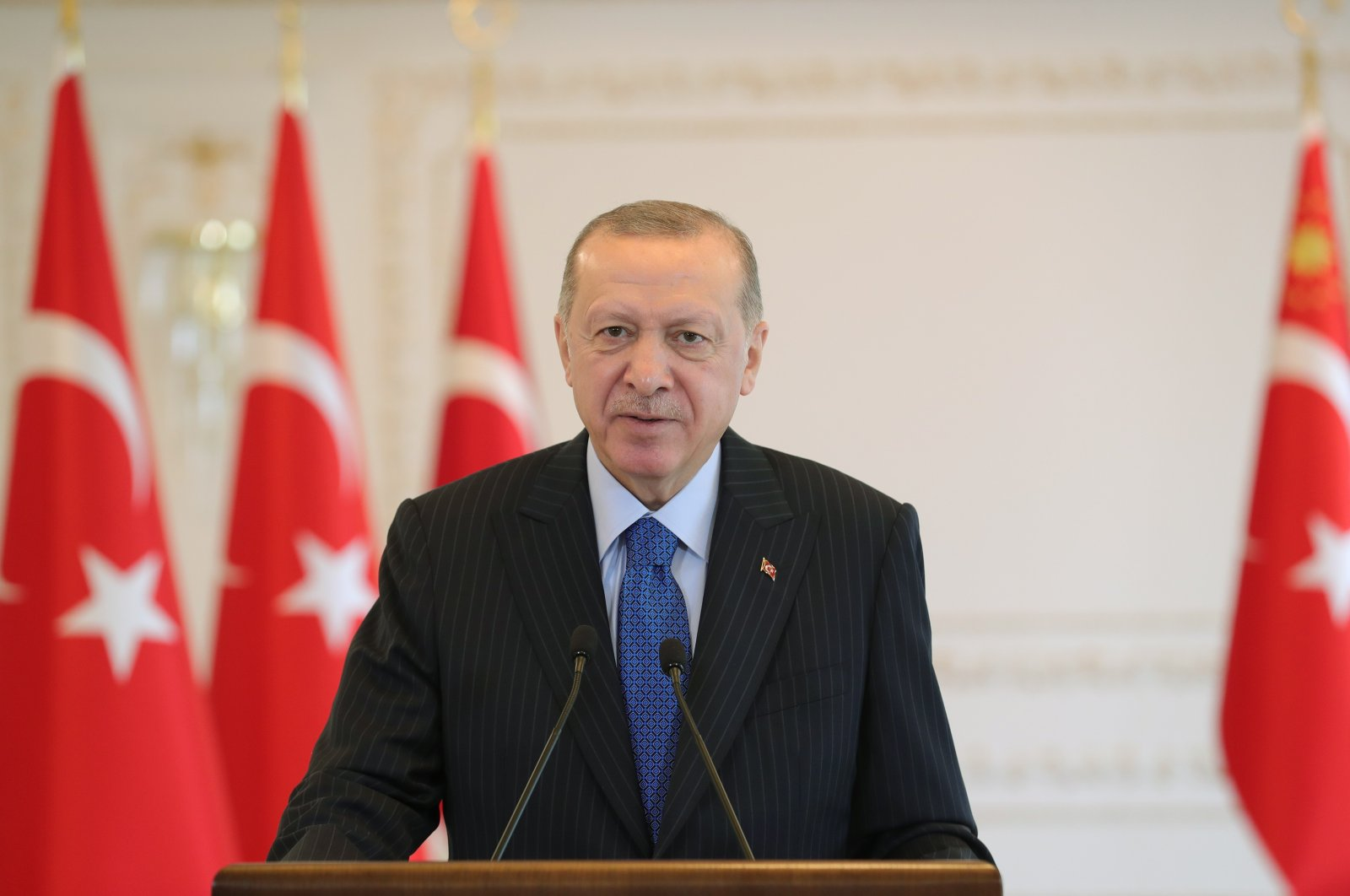 President Erdoğan speaks at the opening ceremony of the Northern Marmara Highway via teleconference, Dec. 19, 2020 (AA Photo)
