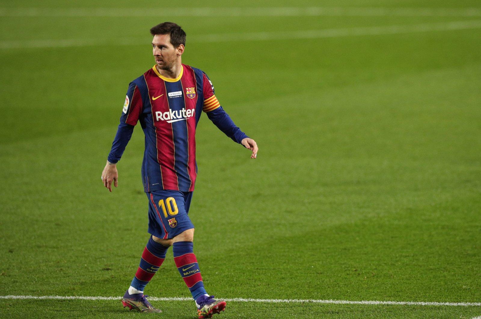 Barcelona's Lionel Messi during FC Barcelona v Valencia game at Camp Nou, Barcelona, Spain on Dec. 19, 2020. (Reuters Photo)