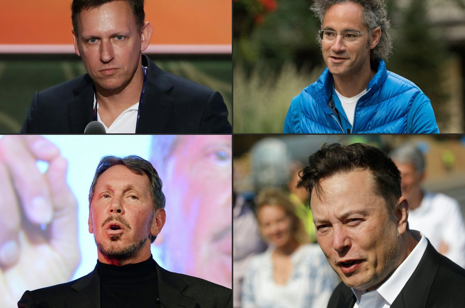 This combination of file pictures created on Dec. 17, 2020, shows, Peter Thiel (top L), co-founder of PayPal, on July 19, 2016, in Cleveland, Ohio; Alex Karp (top R), chief executive officer of Palantir Technologies, on July 14, 2017, in Sun Valley, Idaho; Larry Ellison (bottom L), CEO of Oracle Corporation,  on April 9, 2014, in Tokyo; and Tesla CEO Elon Musk on September 03, 2020, in Gruenheide near Berlin. (AFP Photo)