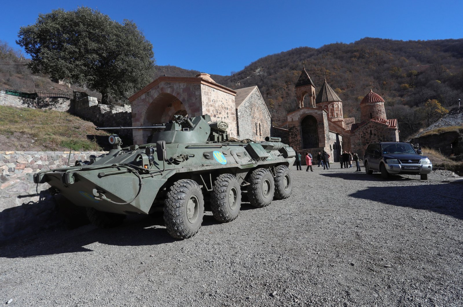 A view shows an armored personnel carrier of the Russian peacekeeping forces near Dadivank Monastery in the region of Nagorno-Karabakh, Nov. 24, 2020. (Hayk Baghdasaryan/Photolure via Reuters)