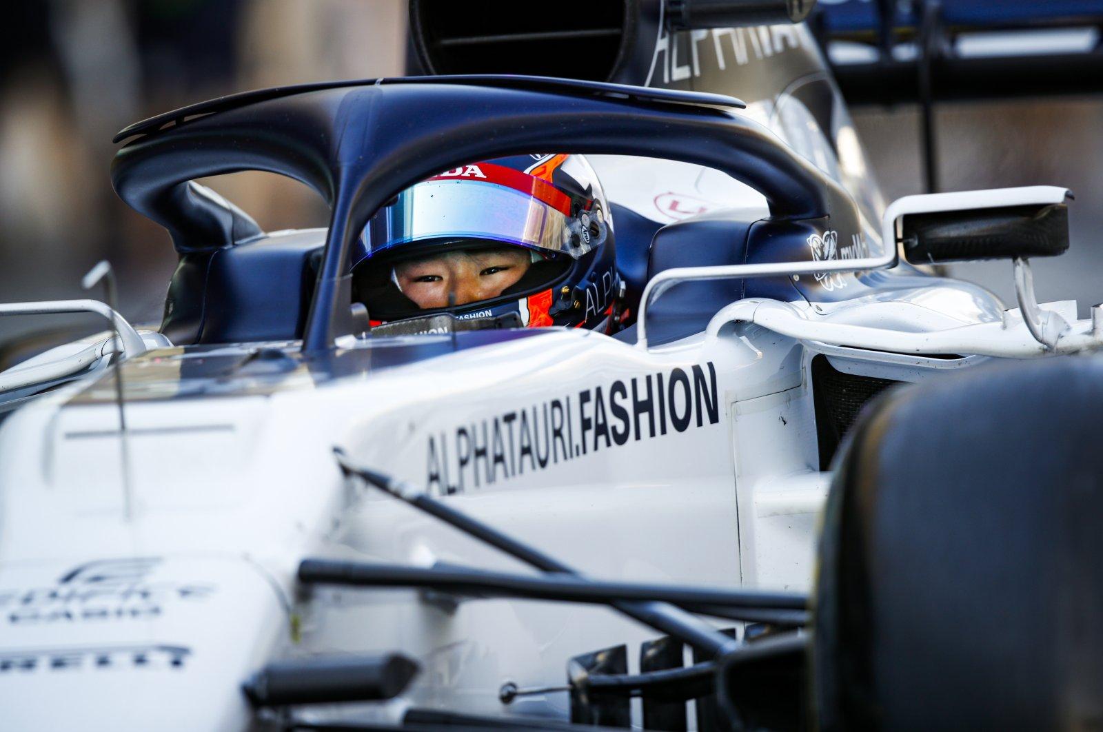 Yuki Tsunoda participates in a test drive for the AlphaTauri F1 team at the Yas Marina Circuit in Abu Dhabi, UAE, Dec. 15, 2020. (Reuters Photo)