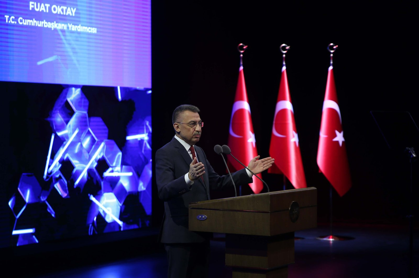 Vice President Fuat Oktay addresses the cybersecurity summit, in the capital Ankara, Turkey, Dec. 21, 2020. (AA Photo)
