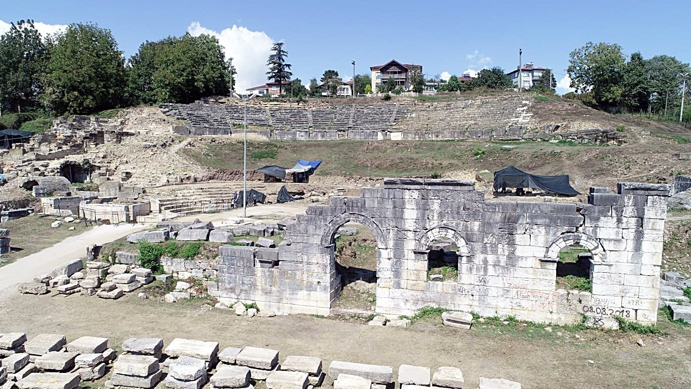 Konuralp Prusias Ad Hypium Antique Theater archeological site in Konuralp district of northern Düzce province, Dec. 22, 2020. (DHA Photo)